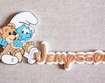 Smurf baby - choose name door plaque