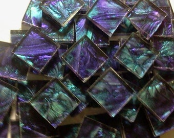 VIOLET & BLUEGREEN - Van Gogh Stained Glass Mosaic Tile B12