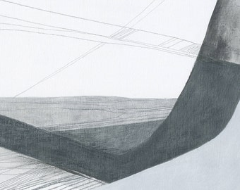Greyscape - abstract drawing Scarborough seascape