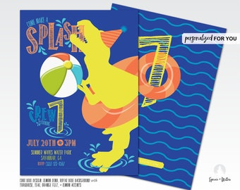 dinosaur pool party invitation, pool party invitation, pool party invite, pool party birthday invitation, pool party digital invite