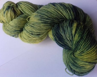 Grellow. 100 grams of hand dyed sock yarn.