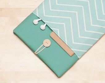 iPad sleeve, iPad Pro 10.5 case / iPad cover / iPad Pro 9.7 case /  padded  - chevron in sage