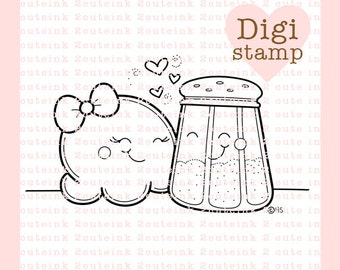 Sweet and Salty (popcorn loves salt) Valentines Digital Stamp for Card Making, Paper Crafts, Scrapbooking, Stickers, Coloring Pages