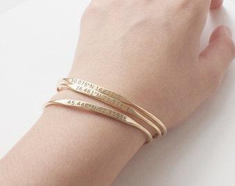 Delicate Custom Coordinates Bracelets - Custom Coordinates Cuff - Personalized Latitude Longitude Jewelry -  Mothers Day Gifts PB30