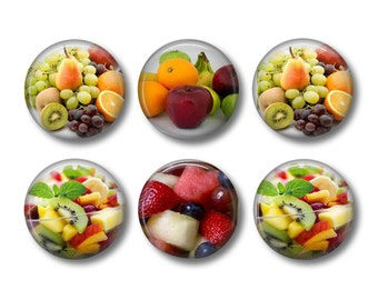 Fruit Salad pinback button badges or fridge magnets, fridge magnet set