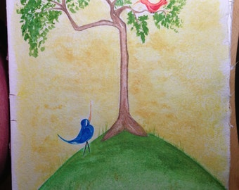 11 x 15 Original Whimsical Birds Watercolor