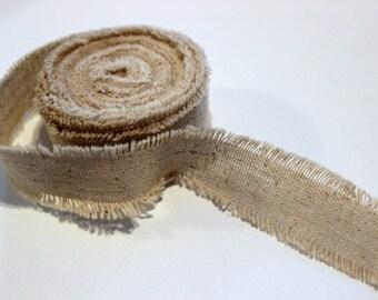 Natürliche ausgefranst rustikalen Leinen One Inch Ribbon - 2 Yards für Verpackung, Artwork, Collage, assemblage