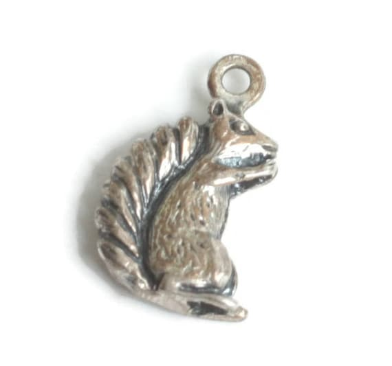 Sterling Silver Squirrel Charm Detailed Dimensional Vintage