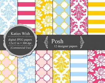 Posh Digital Paper Kit 12x12 jpg Instant Download files  for Commercial Use