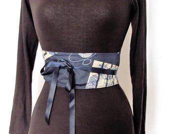 Reversible cotton Obi belt,ivory temari ball on indigo