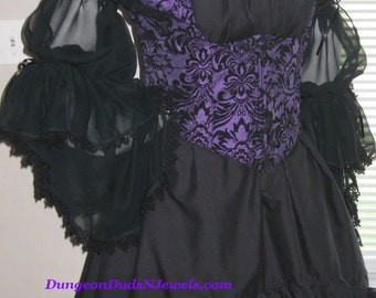 DDNJ Choose Fabric 3pc Reversible Underbust Bodice Chemise Skirt Plus Custom Made ANY Size Renaissance Witch Costume Steampunk Gypsy Pirate