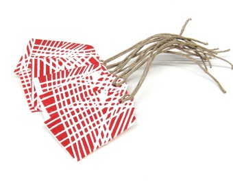 Gift Tags - Red Lines Geometric - Block Printed - Set of 8