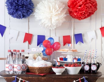Bastille day party printables, bastille day decor, 14th of july decor, French decor, printable party decor
