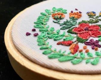 Portable flower garden - embroidered hoop art
