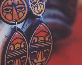 Leather Painted Earrings