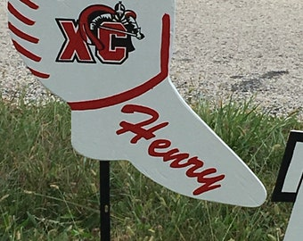 Track yard sign personalized with metal stake