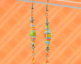 Neon Rainbow Dangle Earrings #409
