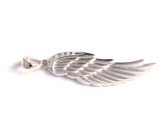 Angel wing pendant with cubic zirconia 925 sterling silver
