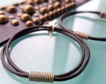 Oki Midas Earring Bracelet Set, Leather Cord Hoop Earrings w/ African Bead, Studded Leather Cuff, Silver or Brass, Gypsy Tribal Boho Jewelry