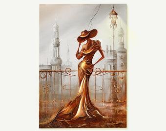 Woman in Gold , Textured Original 3d Painting , Original Art , Unique Art , Modern Gold Painting , Original Metallic Wall Art , Paris