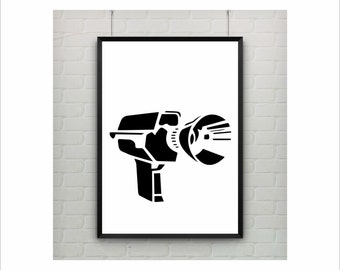 Supa 8 Film camera Banksy Print / Graffiti Art / US Letter-A4 up to A0 size / Street Art / Wall Art / Provocative Humor / Contemporary Decor