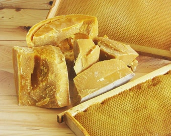 Raw Beeswax, purified in water and screened. Wide range of uses. Yellow natural beeswax.