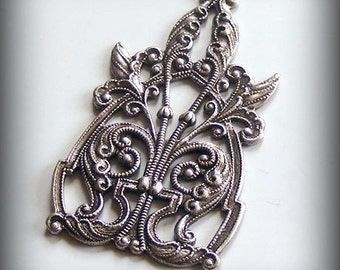 1 pc Heirloom Quality Ornate Oxidized Sterling Silver Plated Filigree Focal 44x27mm DC75X-VJS F-A14109
