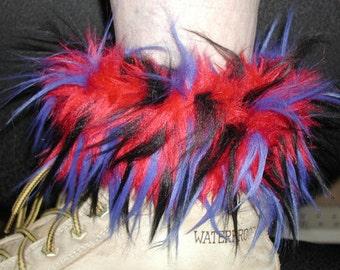 Spiked Monster Fur Playa Boot Cuffs Pair