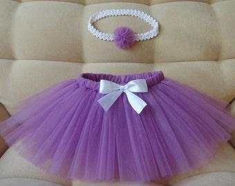 Lilac tutu skirt and crochet hedband Baby outfit Birthday outfit Wedding tutu Newborn tutu set Toddler tutu Flower girl spring tutu
