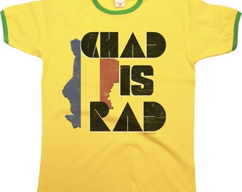 Chad Is rad Mens RINGER T-Shirt Retro Style Africa New