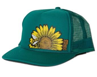 Sunflower Bee Trucker Hat - Jade Turquoise Mesh Back Snap Hat