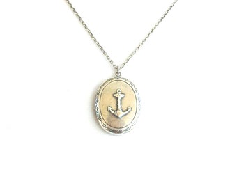 Anchor Locket Silver Nautical Locket Necklace Anchor Necklace Sterling Silver Ox and Brass Ox Finishn
