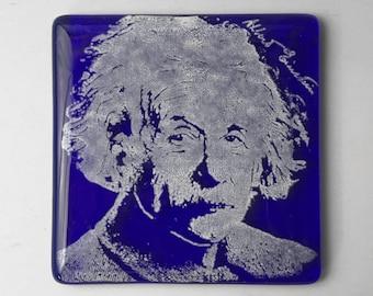 Albert Einstein Fused Glass Coaster, Genius Coasters, Icon Coasters
