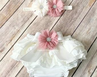 Baby girl clothes, cream white bloomers, baby girl headband, dusty rose mauve, diaper cover, newborn girl, infant girl bloomer, baby shower