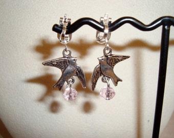 Bird in Flight Clip On Earrings, Pink Crystals, Modern Design, Creative Bird in Flight, Handmade, Clips, Fashionable