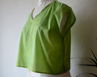 Cotton blouse lime green summer crop top natural dyes boxy sustainable boho minimalist fashion shirts womens garments grunge v neck sheer