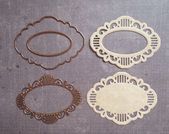 Die cut Stencil Creative Expressions set oval Tag