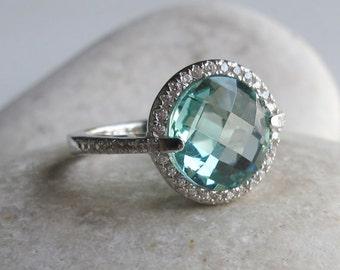 London Blue Engagement Ring- Halo Ring- Blue Topaz Ring- Halo Ring- Gemstone Ring- Bridal Ring- Promise Ring