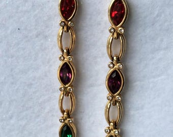 Signed Vintage Swarovski Dangle Earrings with Red, Purple, Green and Clear Stones