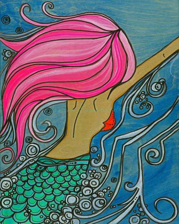 8x10 Giclee Print Hot Pink Mermaid Swimming in the Sea by Lauren Tannehill ART