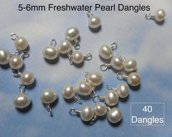 50 (Fifty) 5mm - 6mm white freshwater pearl charms -closed loop wire wrapped dangles- silver, gold, antiqued brass, copper, gunmetal plated