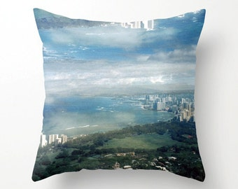 decorative pillow cover. accent pillow. surreal photo throw pillow cover. waikiki honolulu diamond head hawaii art. dreamy cloud photo decor