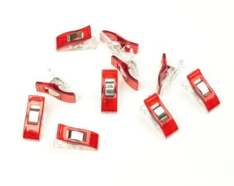 10 pieces of fabric staples red