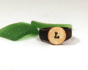 Wood Initial Ring