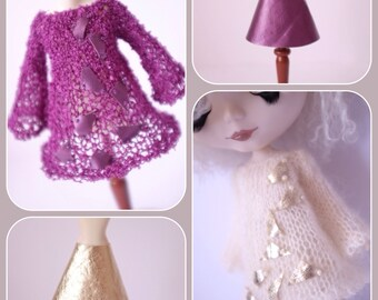 """PDF pattern for Airy Fairy tunic dress and vinyl skirt for 12"""" Blythe, Middie Blythe and Monster High dolls"""