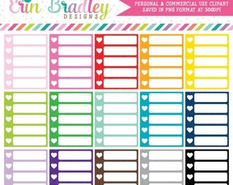 80% OFF SALE Heart Checklists Clipart Commercial Use Planner Graphics