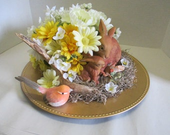 Spring Easter Silkflower arrangement Centerpiece Spring with ceramic rabbits on a gold charger plate OOAK