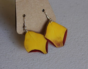 Sterling Silver Rose Petal Earrings - Yellow with Magenta