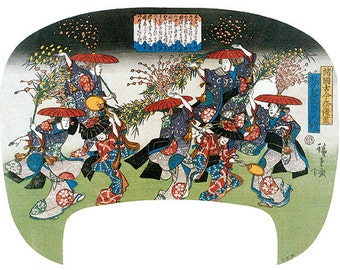 Hand-cut wooden jigsaw puzzle. MOCHIBANA DANCE FESTIVAL. Hiroshige. Japanese woodblock print. Wood, collectible. Bella Puzzles.