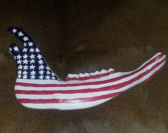 American flag cow jaw bone